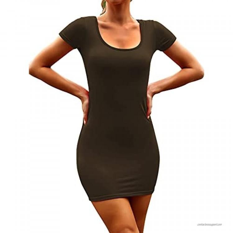 AEPEBO Bodycon Dress for Women Short Sleeve Crewneck Casual Tight Dress Sexy Mini Dress