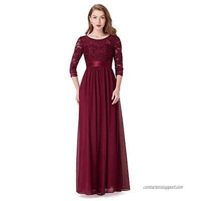 Alisapan Womens Chiffon Lace 3/4 Sleeve Long Formal Evening Dresses 7412