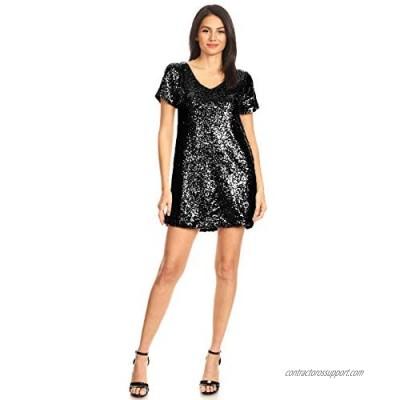 Anna-Kaci Women's Short Sleeve V-Neck Sequin Shift T-Shirt Mini Dress
