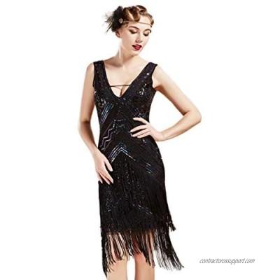 BABEYOND 1920s Flapper Dress V Neck Sequin Beaded Dress Roaring 20s Gatsby Fringe Party Dress