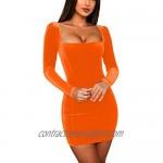 GOBLES Womens Sexy Velvet Long Sleeve Bodycon Elegant Mini Party Dress