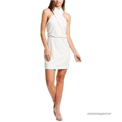 HALSTON Women's Sleeveless Wrap-Neck Fitted Dress