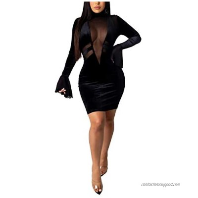 Remxi Women Sexy Mini Feather Dress Deep V Neck Long Sleeve Mesh Patchwork Solid Party Club Bodycon Dresses