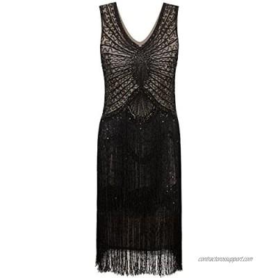 VIJIV 1920s Style Inspired Charleston Sequin Layer Tassel Cocktail Flapper Dress