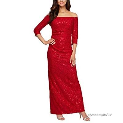 Alex Evenings Women's Long ¾ Sleeve Off The Shoulder Dress