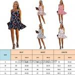 ECOWISH Womens Floral Dress Backless Spaghetti Strap Sleeveless Pleated Swing Ruffles Short Dresses