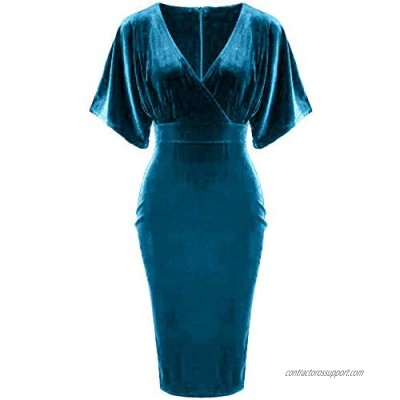 GownTown 1950s Style Butterfly Sleeve Velvet Pencil Dress
