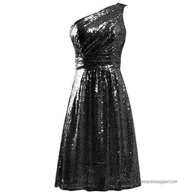 JAEDEN Homecoming Dress Sequin Short Cocktail Party Dress One Shoulder Homecoming Dresses