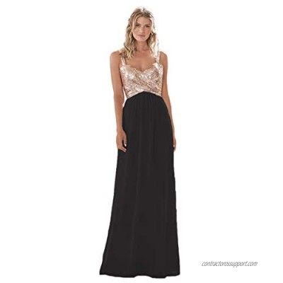 Lilyla Rose Gold Sequined Long Bridesmaid Dress A Line Sweetheart Prom Dress for Wedding