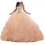 Lovely Romana Women's Organza Ruffles Quinceanera Beaded Sweetheart Prom Ball Gown
