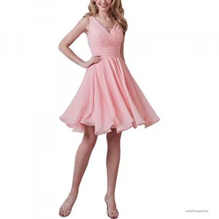 Now and Forever Women's V-Neck Bridesmaid Dress Short A-Line Formal Evening Gown