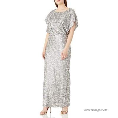 Alex Evenings Women's Long Blouson Dress with Flutter Sleeves