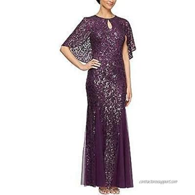 Alex Evenings Women's Long Sequin Capelet Dresses