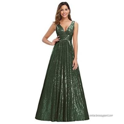 Ever-Pretty Women's V-Neck Long Sequin Dress Maxi Formal Party Dress 0825