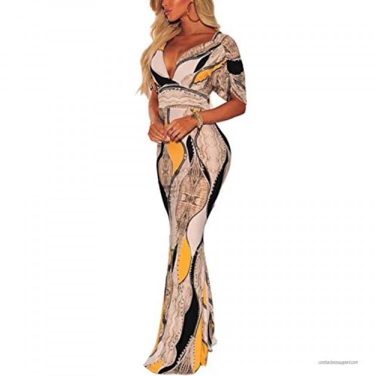 Women's Sexy Long Maxi Dresses Tropical Bodycon V Neck Floor Length Party Mermaid Dress