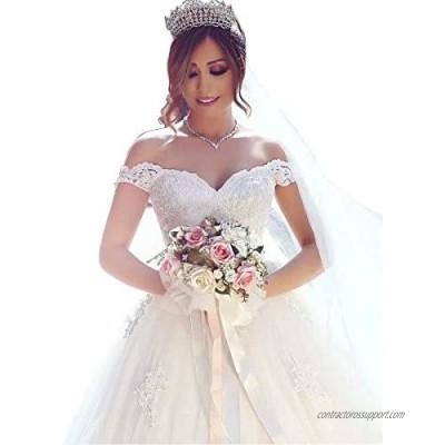 Yuxin Wedding Dress Elegant Sweetheart Lace Ball Gown Wedding Dresses 2021 Off Shoulder Princess Bridal Gowns