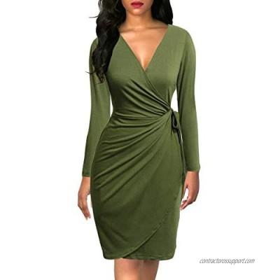 Berydress Women's Black Wrap Dress Sexy Deep V Neck Long Sleeve Knee-Length Cocktail Party Dresses
