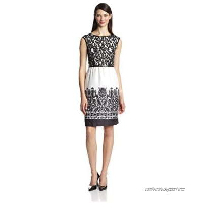 Ellen Tracy Women's Lace and Printed-Sheath Dress