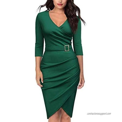 KYLEON Women's Wear to Work Formal Business Party Bodycon One-Piece Dress Lapel Button Long Sleeve Office Pencil Dresses