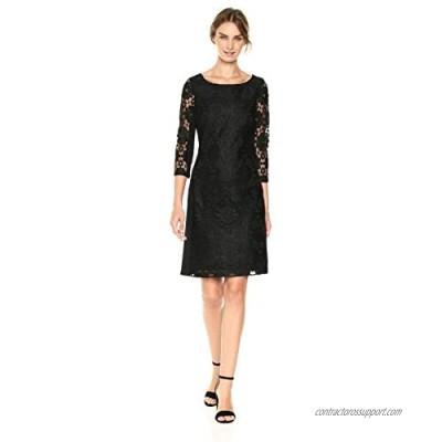 NINE WEST Women's Medallion Lace/Ponte Combo 3/4 Sleeve Dress