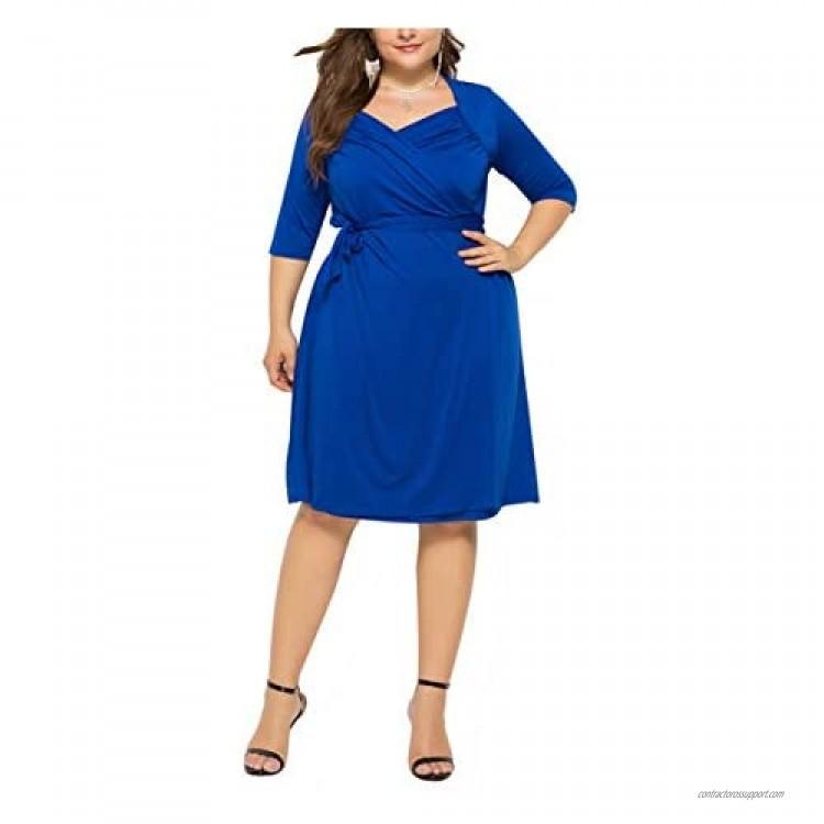 Women's Half Sleeve Flexible Swing Casual Solid Dress Plus Size Dress