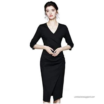 Womens Premium Elegant Casual Work Business Short Sleeve Midi Dress