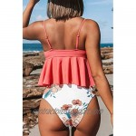 CUPSHE Women's High Waist Tankini Swimsuit Floral Print Two Piece Bathing Suit