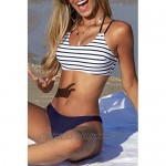 CUPSHE Women's Low Rised Navy Striped Halter Bikini Sets