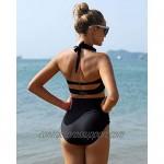 Holipick Women's Retro Halter Bikini High Waisted Vintage Swimsuits Tummy Control Two Piece Bathing Suits