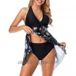 Holipick Women's Tankini Swimdress V Neck Mesh Halter Two Piece Swimsuits Push Up Flowy Bathing Suit Dress