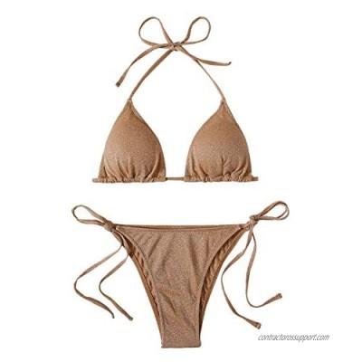 SheIn Women's 2 Piece Glitter Halter Triangle Bra and Tie Side Panty Bikini Swimsuit