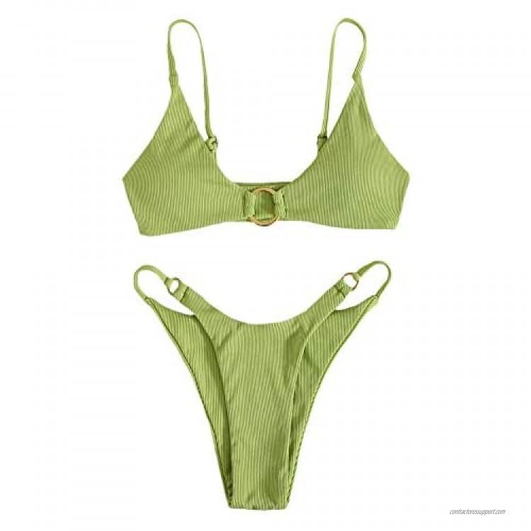 SOLY HUX Women's Print Tie Back Triangle Bikini Bathing Suits 2 Piece Swimsuits