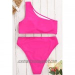Womens Crop Top Swimsuit High Waisted One Shoulder Sports Bikini Two Piece Push Up Bathing Suit