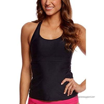 AdoreShe Women's Racerback Solid Tankini Top Swimsuit Black Simply Bathing Suits