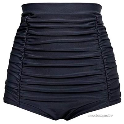 Balasami Women's Retro High Waisted Bikini Swimsuit Bottoms Ruched Vintage Swim Short Tankinis