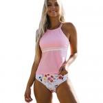 Beachsissi Womens Tankini Swimsuit Pink Flower Print Cross Back Bathing Suit