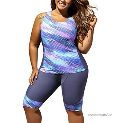 Farysays Women's Sleeveless Top and Cropped Pants Two Piece Unitard Tankini Swimsuit
