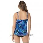 Miraclesuit Women's Swimwear Royal Palms Mirage Scoop Neck Underwire Bra Asymmetrical Tankini Bathing Suit Top