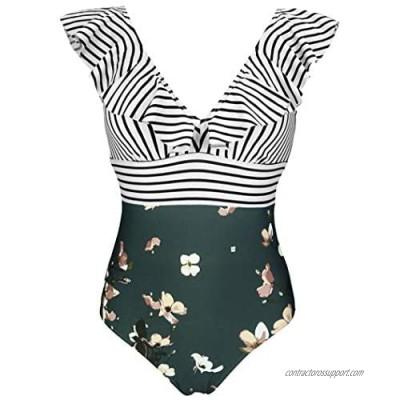 COCOSHIP Women's One Piece Bather Deep V Neckline Bikini Striped Front Backless Swimsuit Flounce Ruffle Swimwear