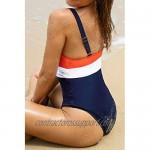 CUPSHE Women's Orange Navy V Neck Ruching One Piece Swimsuit