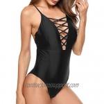 Ekouaer Womens Sexy Ruffle Criss Cross Back One Piece Swimsuit Monokini Swimwear