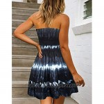 Beach Dress for Women Summer Casual Cover-up Strapless Tie-dye Print Off Shoulder Dresses