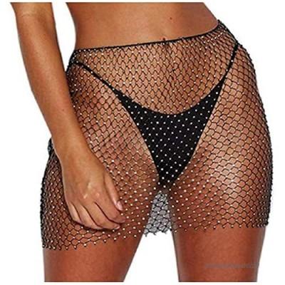 Koloyooya Women Sexy See-Through Fishnet Skirt Swimwear Cover-up Beach Sexy Swimsuit Lingerie