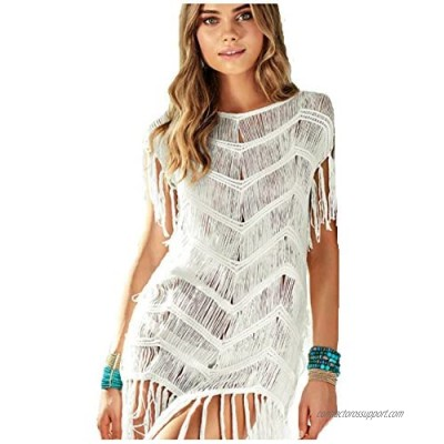 Wander Agio Beach Tops Sexy Perspective Cover One Size Net Tassels Wave White