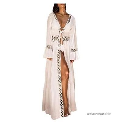 Wander Agio Womens Bikini Loose Cover Ups Beach Casual Dress Coverup Swimsuits Long Cardigan Round Hole 27