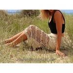 WenHong Women's Swimsuit Cover up Knit Crochet Maxi Skirt Beachwear Swimwear Off White