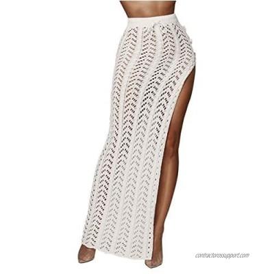Womens Crochet Beach Cover Up Skirts Sexy High Waist Hollow Out Long Maxi Skirt Slit