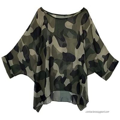 Women's Loose Batwing Blouse Chiffon Top Camouflage Printed Kimono Poncho Tunic Kaftan Cover up