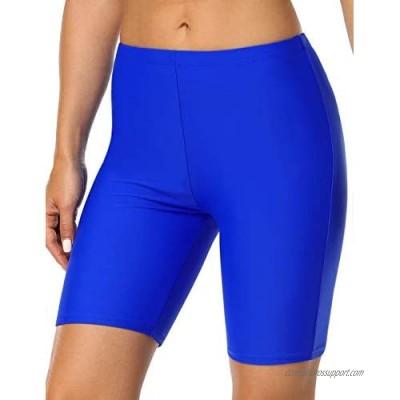 Hilor Women's Swim Shorts UV Long Bike Shorts Rash Guard Swim Bottom Active Sport Surf Shorts