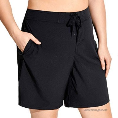 SYROKAN Women's Athletic Plus Size Swim Board Quick Dry Shorts with Pocket
